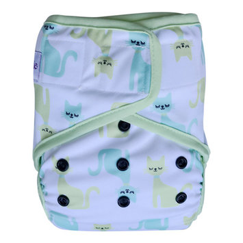 EcoAble Baby Waterproof PUL Cloth Diaper Cover AI2, Hook & Loop (Size 2/ 15-35lb, Kitty)