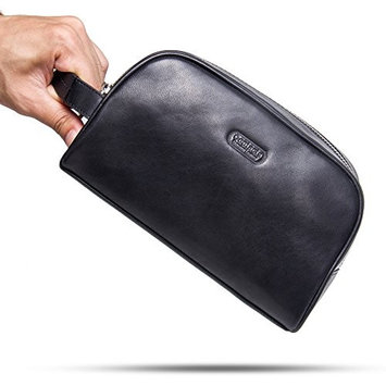 Contacts Genuine Leather Zipper Toiletry Bag Dopp Kit Small Travel Bag Black
