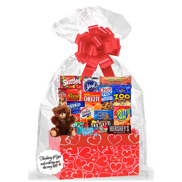 Red Hearts Valentines Day Thinking Of You Cookies, Candy & More Care Package Snack Gift Box Bundle Set - Arrives in 3-4Business Days