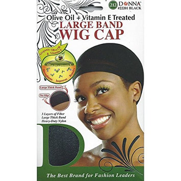 (PACK OF 12) DONNA OLIVE OIL + VITAMIN E TREATED LARGE BAND WIG CAP #22201 BLACK: Beauty