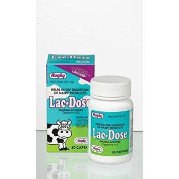 Rugby Lac-Dose, Lactase Enzyme, 50 Captabs Per Bottle (2 Bottles)