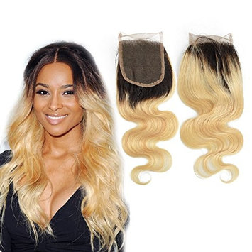 Dingli Hair 4x4 Free Part Ombre Blonde 1 Piece Closure 100% Brazilian Virgin Hair Body Wave Swiss Lace Closure with Baby Hair #1b/613