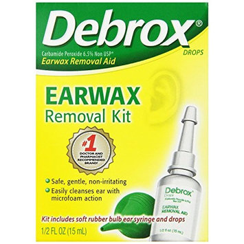 5 Pack Debrox Drops Earwax Removal Aid Kit - 15 ml Drops with Bulb Syringe Each