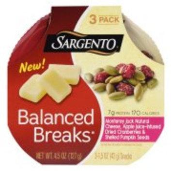 Sargento Balanced Breaks, Monterey Jack Natural Cheese, Apple Juice-Infused Dried Cranberries & Shelled Pumpkin Seeds, 4.5 oz