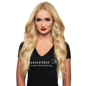 IRRESISTIBLE ME 1 piece Clip in Hair Extensions Platinum Blonde (#613) - 100% Human Remy (Remi) Hair clip ins – Straight 1 Weft Set Clips - Signature Quad Weft - 18 Inches 60 grams (quad-613-19-60)