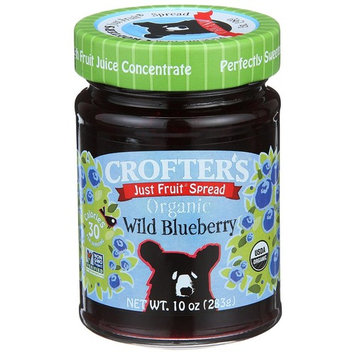 Crofter's Organic, Just Fruit Spread, Organic Wild Blueberry, 10 oz(Pack of 2)