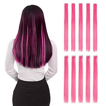 """EastFreyr 22"""" Long Straight Wig Hairpieces Colored Synthetic Fiber Clip in Hair Extensions for Women Girls Halloween Party Costume Cosplay, Wig Comb included (Red, Pack of 10)"""