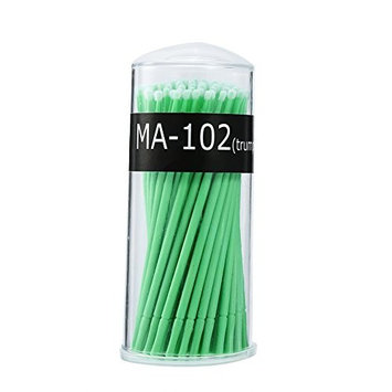 Disposable Micro Brush, 4 Types 100PCS/Box Women Micro Mascara Brush for Makeup and Personal Care(M- Green)