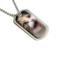 Tabby Kitten Cat Meow Military Dog Tag Luggage Keychain