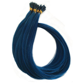 I Tip Remy Human Hair Extensions 18 inch 100 Strands Keratin Stick Straight 0.5 gram per strand (18 inch, bluie color)