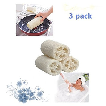Loofah Sponge-Natural Loofah Exfoliating Bath Sponge Scrubber or perfect for Bath & Kitchen Cleaning(3 pack)