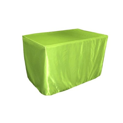 LA Linen TCbridal-fit-48x24x30-LimeB84 Fitted Bridal Satin Tablecloth Lime - 48 x 24 x 30 in.