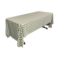 La Linen Polyester Gingham Checkered Rectangular Tablecloth Color: White / Apple