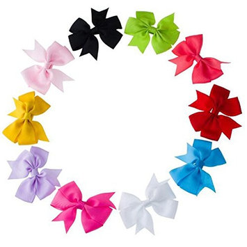 6PCS Tiny Boutique Hair Clip Grosgrain Ribbon Pinwheel Hair Bow Alligator Clips Barrettes for Baby Girls Toddlers Kids (Color Random)