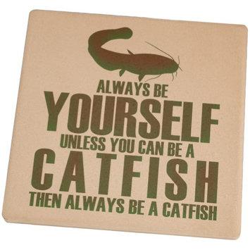 Animal World Always be Yourself Catfish Square Sandstone Coaster
