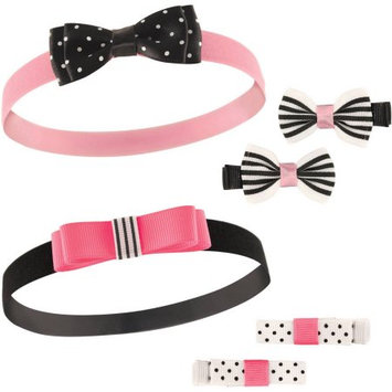 Hudson Baby Black & Pink Bow Headband & Clip Set