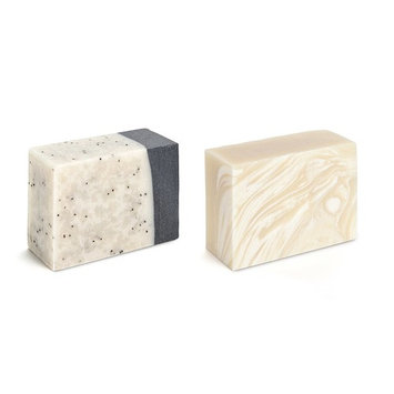 Set of 2 Natural Olive Oil Soap Bars - Made with Olive, Coconut & Avocado Oils & Enriched with Shea & Cocoa Butters - Promotes Skin Softness & Elasticity (Clay/Charcoal & Goat Milk)
