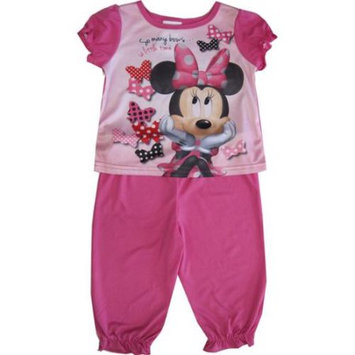 Desigual Disney Baby Girls Pink Minnie Mouse Short Sleeve Two Piece Pajama Set 18M
