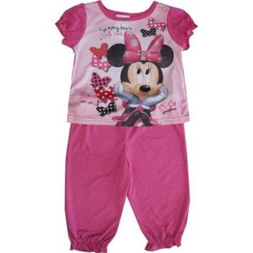 Desigual Disney Baby Girls Pink Minnie Mouse Short Sleeve Two Piece Pajama Set 18M