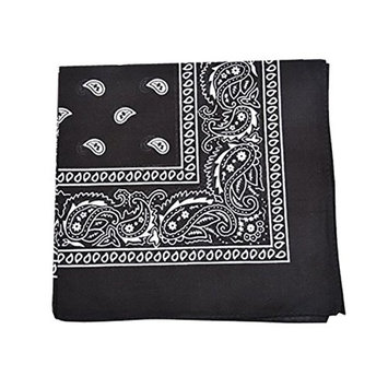 Qraftsy Paisley Bandanas Head Wrap, 100% Cotton Double Sided, 21 x 21 Inch (500 Pack, Black)