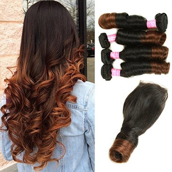 Mink Hair Brazilian Ombre Spring Curl Hair with Closure (20 22 24 24 + 16) Grade 8A Virgin Spring Curly Hair Extension with 4X4 Free Part Lace Closure 100g/bundle Two Tone Ombre Color 1b/4#