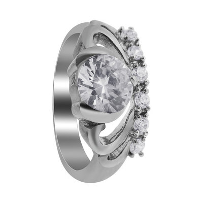 Gem Avenue Stainless Steel Tiara Crown Design Cubic Zirconia Accents Ring
