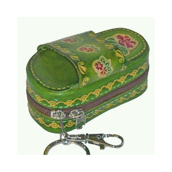 Genuine Leather Lipstick Holder with Mirror, Flower Pattern Embossed. (Only Green Available Currently)