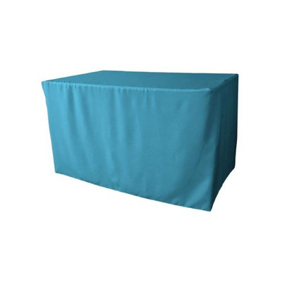 LA Linen TCpop-fit-48x30x30-TurquoiseDrkP52 1.8 lbs Polyester Poplin Fitted Tablecloth Dark Turquoise