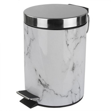 Home Basics Faux Marble 0.70 Gal. Plastic Steel Trash Can