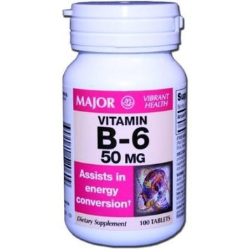 Major Vitamin B-6 Tablets, 50mg, 100ct (6 Pack)