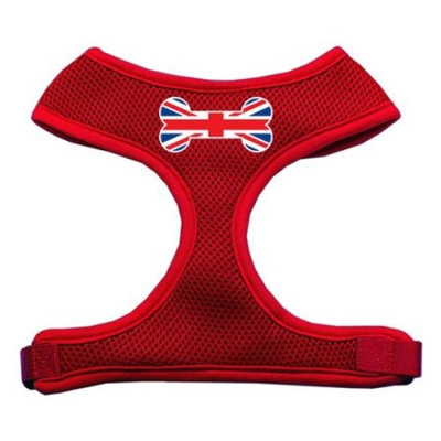 Mirage Pet Products Bone Flag UK Screen Print Soft Mesh Dog Harnesses, Large, Red