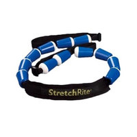 StretchRite®, Physical Therapy Full Body Stretching Strap with Patented Easy Grip Handles for Sore and Tight Muscles (Blue/White), Includes Free Coaching Guide