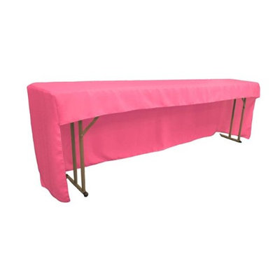 LA Linen TCpop-OB-fit-96x18x30-HotPinkP38 Open Back Polyester Poplin Fitted Tablecloth for Classroom Tables Hot Pink