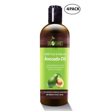 Avocado Oil by Sky Organics - 100% Pure, Natural & Cold-Pressed Avocado Oil - Ideal for Massage, Cooking and Aromatherapy- Rich in Vitamin E and Oleic Acid - 8oz (4 pack)
