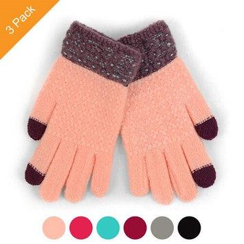 Alphabetdeal. 3 PK Junior's Two-Tone Knit Winter Gloves
