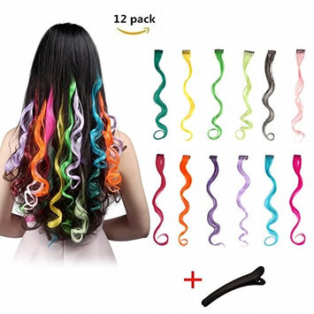 FESHFEN 12 Pcs 12 Colors Full Color Curly Wave Clip on in Hair Extensions Hair Pieces 18 Inches Long Remy Hair Colored Party Highlights DIY Hair Accessories Extensions for Kids Grils Women
