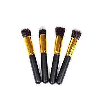 CAETLE Premium Synthetic Hair Makeup Brush Set Cosmetics Foundation Blending Blush Face Powder Brush Makeup Brush Kit (4 Pieces ,Golden Black)