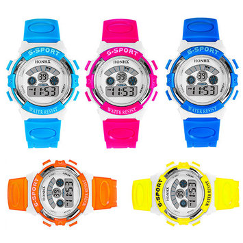 Girl12Queen Kids Children Digital Watch Rubber Sport Multi-functional Date Alarm Wrist Watch