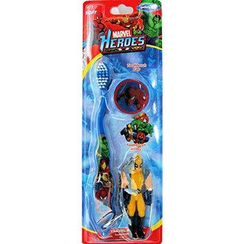 Marvel Heroes Avengers Toothbrush with Cap and Keychain Mini Figure ~ Spiderman, Hulk, Iron Man, Wolverine