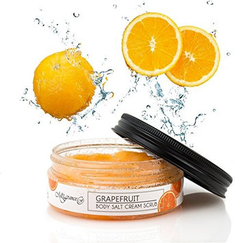Mrs.France Grapefruit Face & Body Salt Scrub - All natural - Best Skin Exfoliator - Eczema & Acne Treatment - For All Skin Types - Made in Europe