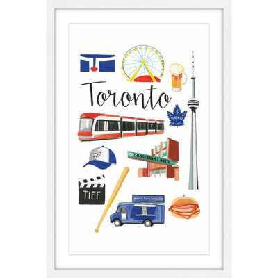 Marmont Hill Inc Marmont Hill - 'Travel Toronto' by Molly Rosner Framed Painting Print