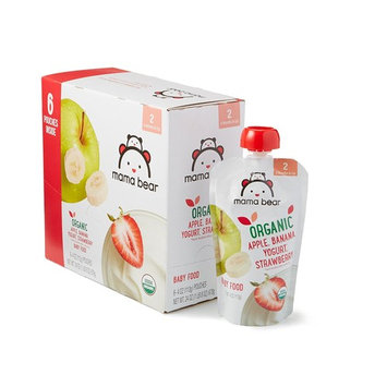 Amazon Brand - Mama Bear Organic Baby Food, Stage 2, Apple Banana Yogurt Strawberry, 4 Ounce Pouch