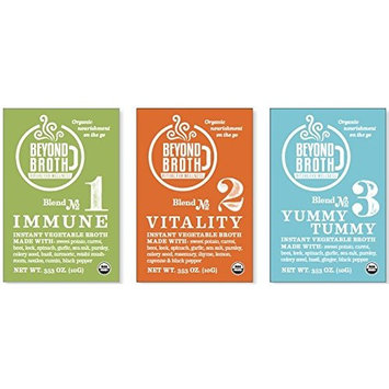 Beyond Broth - 3 Flavor Variety Pack - Vegan Instant Broth - USDA Organic Herbal Sipping Broth - (3 Packets, 1 of Each Flavor)
