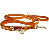 Dogs My Love Orange 6 Way European Multifunctional Leather Dog Leash, Adjustable Schutzhund Lead 49