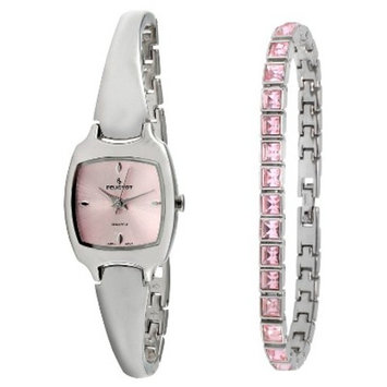 Peugeot Women's Silver Watch & Crystal Tennis Bracelet Gift Set - Pink