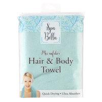 Spa Bella Microfiber Hair & Body Towel, Blue