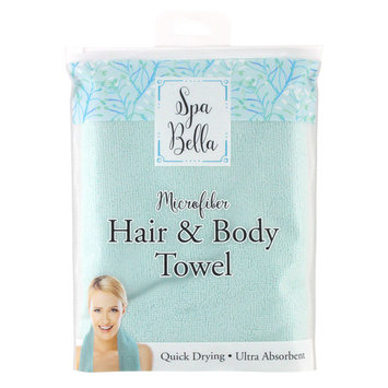 Spa Bella Microfiber Hair & Body Towel, Blue