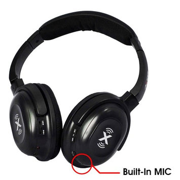 Axess HPBT604-BK Wireless Bluetooth Stereo Headphones with Built-in Microphone, Black