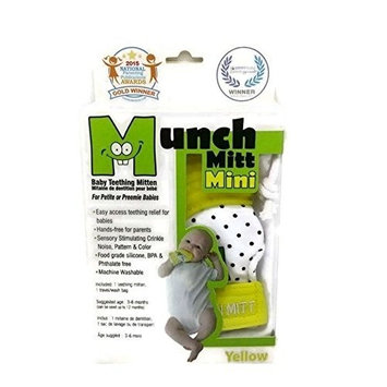Munch Mitt MINI Teething Mitten the Original Mom Invented Teething Toy - Teether Stays on Babys Hand for Pain Relief & Stimulation - Ideal Baby Shower Gift with Handy Travel/Laundry Bag- Yellow