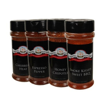 Smoked BBQ, Caribbean, Honey Chipotle, Espresso Pepper Shaker 4-pack - Delicious Flavors with Excellent Heat and Variety - Kosher, Gluten-Free, Non-GMO, No MSG - 22 total oz. [Variety (BBQ)]